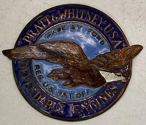 Vintage Rare Enamel Emblem Pratt Whitney Dependable Engines USA Badge Robbins co