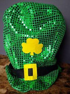 St Patricks Day Green JUMBO SEQUIN LEPRECHAUN TOP HAT Adult Costume Accessory