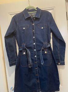 Studio Long Sleeve Button Up Denim Dress Blue UK 10 M BNWOT New