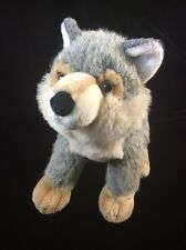 "Aurora Wolf Plush Gray Silver Tan  Soft Toy 10"" Stuffed Animal"