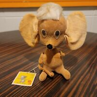 "Kamar Mouse Sonja Plush Doll  Original Tag Wood Stuffed Japan 6"" 2602 Vtg 1966"