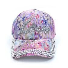 Light Purple  LOVE Bling Studs Flower Adjustable Baseball Hat Cap New