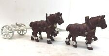 Antique / Vintage 2 Pairs Cast Iron Clydesdale Horses And Wagon Hitch