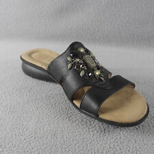 "NWOB NATURLIZER Black Faux Leather ""JYPSY"" JEWELED Slide Sandal WOM Size 9.5 ANB"