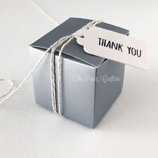 SILVER CARDBOARD BOXES Small Square Lolly Favours Wedding Bombonieres 15 pcs