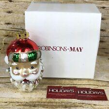 Vintage Robinsons May Christmas Santa Ornament w/ Box and Holiday Tag 2003
