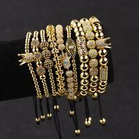 Luxury Men Women Micro Pave CZ Crown Copper Bead Braided Macrame Bracelets Gifts