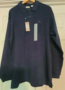 Izod Mens XL Long Sleeve Navy Polo Warm Cotton Shirt NWT