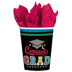 Made the Grade Congrats Grad School Graduation Theme Party 9 oz. Paper Cups