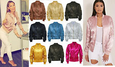 Women Ladies Satin Ma1 Bomber Jacket Vintage Summer Coat Flight Army Biker Retro Light Pink UK L (14)