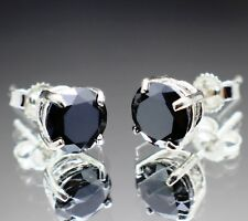 1.82tcw Real Natural Black Diamond Stud Earrings AAA Grade & $1110 Value