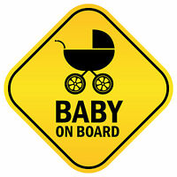 Baby On Board Car Window Safety Decal Yellow Vinyl Sticker Decal 4 stickers