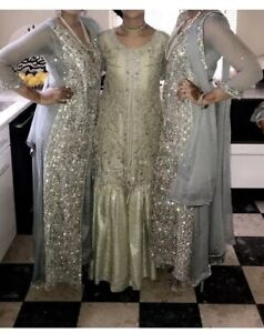Womens Asian Wedding Dress Outfit In Silver Small/medium