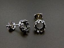 6 Stück 925 Silber Ohrstecker 6mm Bezel für 6mm Cabochons und Steine (956330AN)