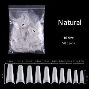 500pcs False Nail Art Tips French Natural Transparent Coffin False Nails Tips On