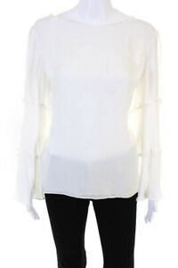 DREW Womens Silk Long Sleeve Torri Top Ivory Size Large  11147878