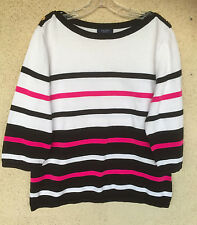 Chaps Striped Pullover Sweater Cotton Navy White Pink Boat Neck 3/4 Sleeves 2X