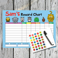 Personalised Reusuable Reward Chart - Kids Childrens Sticker Star Potty Chart