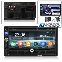 "7"" 2Din Bluetooth FM/TF/USB Car Radio Video MP5 Player With 12LED HD Camera -USA"