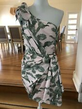 New Significant Other Pink Palm Leaves One Shoulder Cocktail Dress US 6