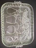 VINTAGE INDIANA GLASS DIVIDED DISH PLATTER PRESSED FRUIT DESIGN