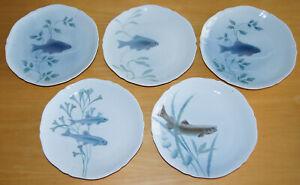 """Five Rare Vintage Kaestner Porcelain Pale Blue Fish Design 9"""" Plates"""