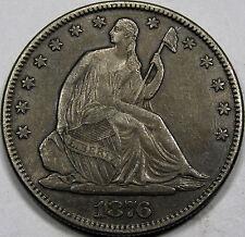 1876 Seated Liberty Half Dollar Nice AU... 100% Original and Crusty, NICE COIN!!