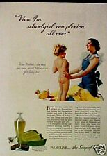 1933 Palmolive Bath Body Soap Mother Child Ducky Art Ad