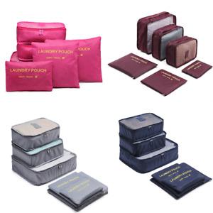 6Pcs Travel Luggage Organizer Bag Orgniser Underwear Socks Packing Cube Storage