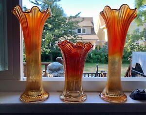 """Amazing 3 Vintage Fenton Northwood Orange Amber Marigold Carnival Vases 2x12""""&7"""""""