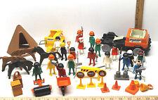1975 Geobra Playmobil System Plastic Figures+Horses+Construction Tools+Truck
