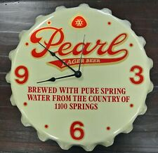 VINTAGE RARE PEARL LAGER BEER ADVERTISING CLOCK BOTTLE CAP SHAPED