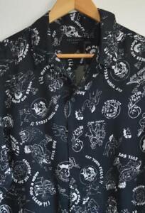 BNWoT Mens All Saints Feels Long Sleeve Shirt Size M in Black/Chalk £95
