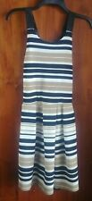 Women's Almost Famous Striped Dress Size L Black Beige White