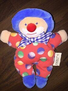 TCM Tchibo Stofftier Kuscheltier Plüschtier Clown Harlekin Bunt Rot Blau Vintage