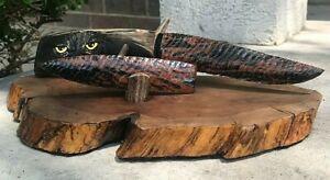 Red Dragon Glass OWL carved Custom handle Flint Knapping Cabin Décor Arrow Head