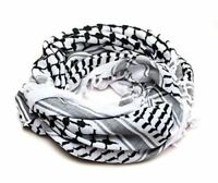"White and Black Arabic Scarf 100% Cotton Shemagh Keffiyeh Arab Neck Head 47""x47"""