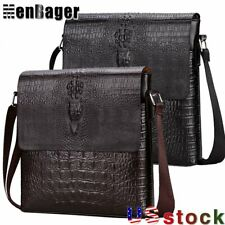 Men's Alligator PU Leather Briefcase Shoulder Messenger Bag Crossbody Handbag US