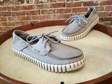 Bernie Mev TW41 Grey Leather Lace Up Comfort Boat Shoe 39 8 NEW
