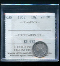 1858 Canada 10 Cents ICCS Certified VF30 DCB200