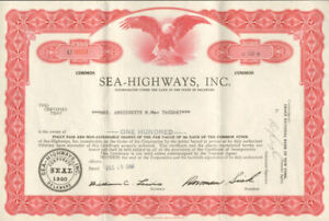 Sea-Highways shipping company stock certificate
