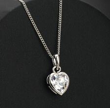 Collier Pendentif Coeur Plaqué Or Blanc et Cristal - Bijoux des Lys
