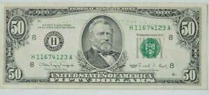 1990 $50 Fifty Dollar Error, Bleed Thru From Back, H 11674123 A, Bill Note