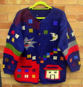 Vintage Pachamama Amano Handmade Chunky Knit Celestial Cardigan Size XL 14-16-18