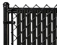Chain Link Black Single Wall Ridged™ Privacy Slat For 4ft High Fence Bottom Lock