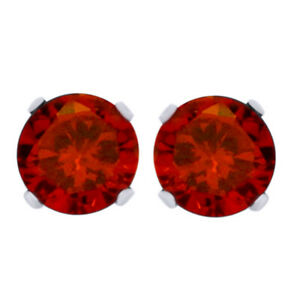 Round Red Garnet Solitaire Stud Earrings 18K White Gold Plated