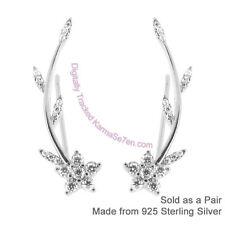 Sterling Silver & CZ Flower Vine Long Earrings - Ear Vines & Ear Climbers