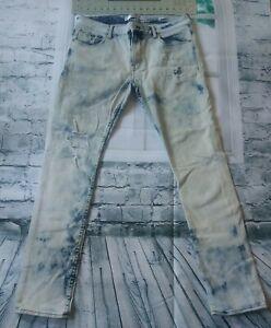 Guess Los Angeles Blue Distressed Denim Jeans Mens Size 34W 31.5L Slim