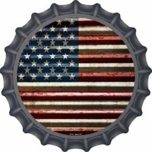 "AMERICAN FLAG BOTTLE CAP STYLE 12"" ROUND LIGHTWEIGHT METAL SIGN"