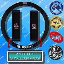 MELBOURNE DEMONS CAR STEERING WHEEL COVER + SEAT BELT COVERS, OFFICIALS AFL!